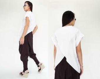NO.149 White Cotton-Blend Jersey Cross Back Top  T-Shirt