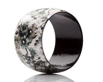 Floral Jewelry Black and White Wood Bracelet Romantic Flowers Bangle ,Decoupage,Handmade.