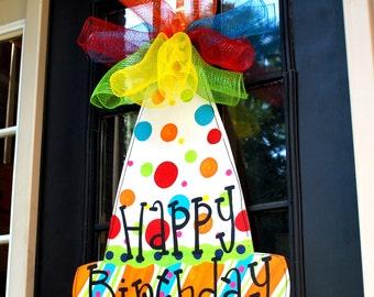 Happy Birthday Sign, Birthday Door Decor, Happy Birthday Door Hanger, Birthday Hat Door Hanger