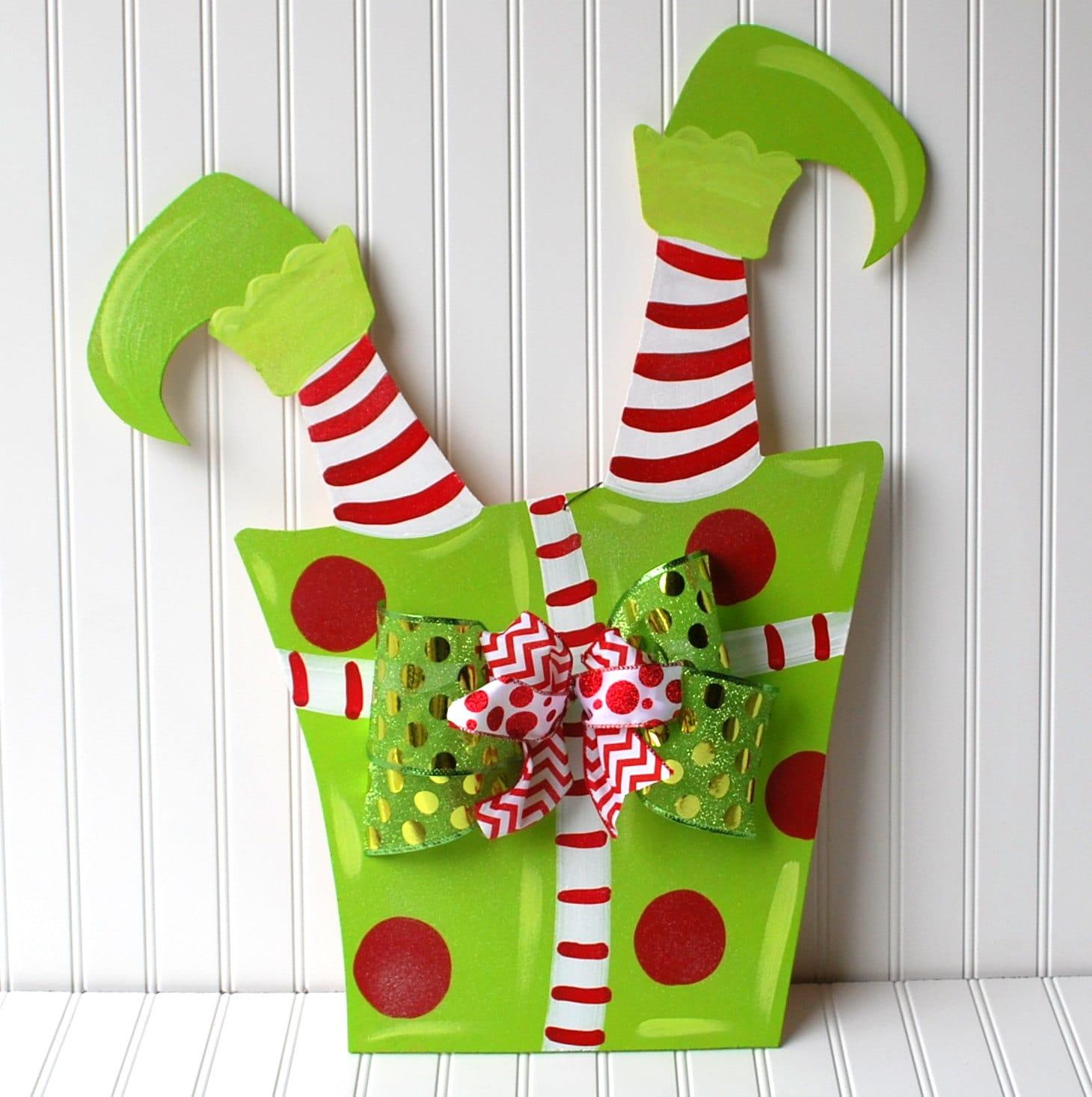 Elf Door Hanger, Unfinished Christmas Cutout, Christmas Decor, Christmas Wreath, Holiday Wreath Elf Legs Wreath, Christmas Door Hanger
