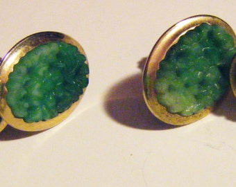Mid Century Mad Men Anson Gold and Jade Screw On Earrings