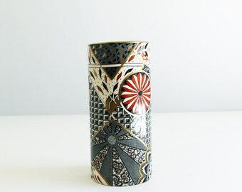 Vintage Mason's Applique Columnar Vase Aesthetic Movement Japanese Design