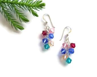sterling silver custom birthstone earrings // mothers jewelry