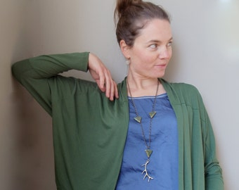 brass elk antler necklace // geometric tribal jewelry