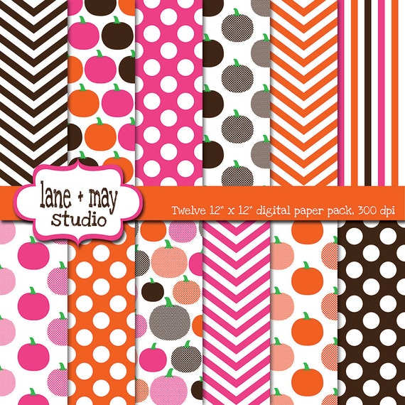Digital papers pink orange and brown little pumpkin theme for Striped and polka dot pumpkins