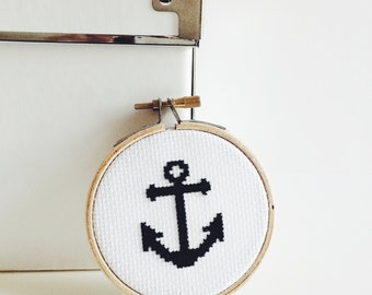 Embroidery Hoop Wall Art Small Black Anchor Cross Stitch Nautical Wall Decoration