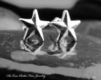 Eco Friendly, Recycled Silver, Sterling Silver, Tiny, Star, Pierced, Earrings, Gift