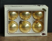 "Vintage Kreb's Gold Blown Glass Ornaments, 2 1/2"", Round Balls, Holiday Christmas Tree Decorations"
