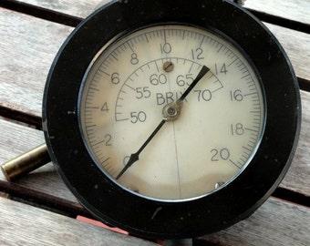 Vintage Industrial Pressure Gauge, Black Bakelite, Salvage, Meter, Brix Brand