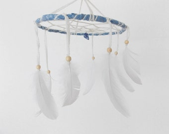 Pure White Mobile - Boho Home Decoration, Childrens Baby Nursery Crib Mobile with Small Gemstone and White Feathers