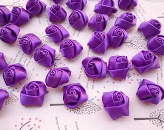 SALE--50 pcs25X10mm Purple Lovely Rose Satin Flowers