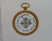 Hallmark Blank Note Cards Time To Write Gold Embossed Pocket Watch Set of Five