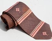 Vintage 1960s Purple Pink Horizontal Stripes Skinny Tie