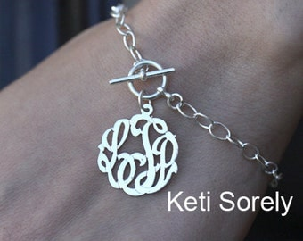 Personalized Monogram Initials Bracelet (Order Any Name) - Sterling Silver With Large Chain