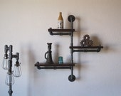 Single Pole Three Tier Walnut Pipe Shelf