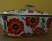 3 piece Butter Boat, Cook Street Inc, Red California Poppies, Red Green White Kitchen, Butter Dish, Flowers