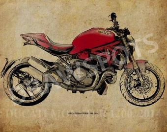 DUCATI MONSTER 1200, 2014 -Original Handmade Drawing Fine Print, 11.5x16 in (29x41 cm), Classic motorcycle Art Print,Custom drawing men gift