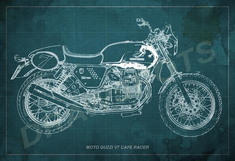 Moto guzzi cafe racer blueprint art print 128 to 6041 in moto guzzi cafe racer blueprint art print 12x8 to 60x41 in motorcycle art print malvernweather Gallery