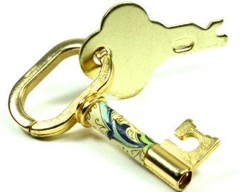 Vintage Looking Gold Tone Metal Skeleton Key  Key Chain Key Ring - Brass Key