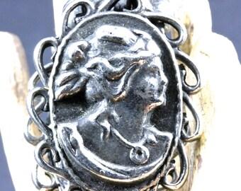 Ornate Silver Cameo Sweater Cardigan Scarf Shrug Clip