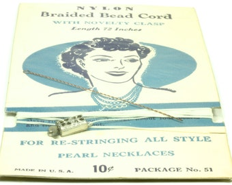 Vintage Nylon Braided Bead Cord - Vintage Jewelry Making Supplies Re-Stringing Pearl Necklaces