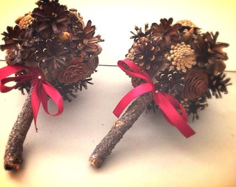 Rustic Wedding Bridesmaids Bouquet Pine Cone Winter Fall Country Weddings