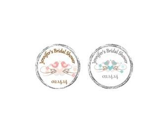New Vintage Love Birds Bridal shower chocolate label favors - wedding favor, bridal shower favors, - sheet of 108