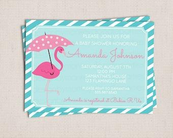little flamingo baby shower custom printable shower invitation