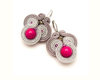 Statement earring, pink and silver, soutache jewelry, bold earrings, orecchini fatti a mano, beads embroidered, cute earrings, unique