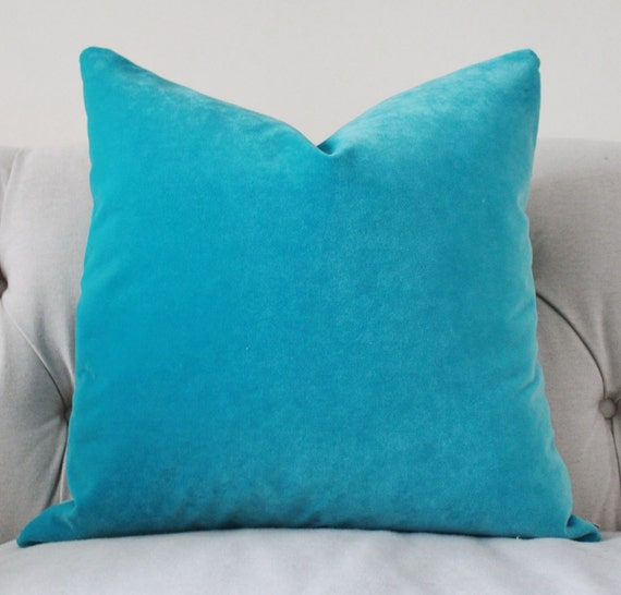 Turquoise Pillow Turquoise Velvet Pillow Cover by MotifPillows
