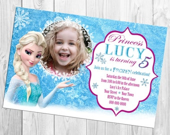 Disney Frozen Princess Elsa Photo Birthday Invitation
