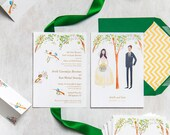 custom illustrated wedding stationery // invitations, rsvp, table numbers // The Birds and the Trees