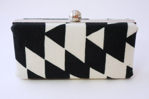 Black & White Geometric Minaudière Box Clutch - Clamshell Handbag - Includes Crossbody Chain - Ready to Ship