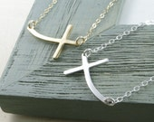 STERLING SILVER CURVED Cross Necklace, Kelly Ripa Curved Sideways Cross, Valentine's Day Gift, Birthday Gift, Bridesmaid Gift, Maid Of Honor