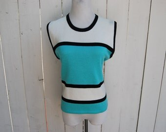MINT ICECREAM Sleeveless 90s Block Striped Knit Sweater Top