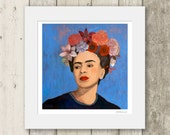 Frida Kahlo print / BURN IT BLUE / Signed & Mounted Giclée Fine Art Print