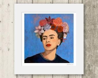 Frida Kahlo print / BURN IT BLUE / Signed & Mounted Giclée Fine Art Print