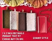 20 Diy Large Rectangle Pendant Trays Kit - 1x2 inch - Blank Bezel Cabochon Setting, Glass, Chains