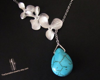 Flower Necklace, Howlite Turquoise Necklace, Lariat Necklace,  Pendants,Jewelry, Gift, SALE 10% OFF