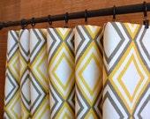 WINTER SALE ⋘ One Pair Designer Curtain Panels 24W or 50W x 63, 84, 90, 96 or 108L Annie Corn Yellow Kelp White Slub shown
