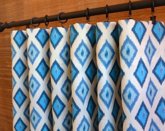 SUMMER SALE! Curtains, Window Treatments, Curtain Panels 24W or 50W x 63, 84, 90, 96 or 108L Carnival Arctic Blue Natural shown