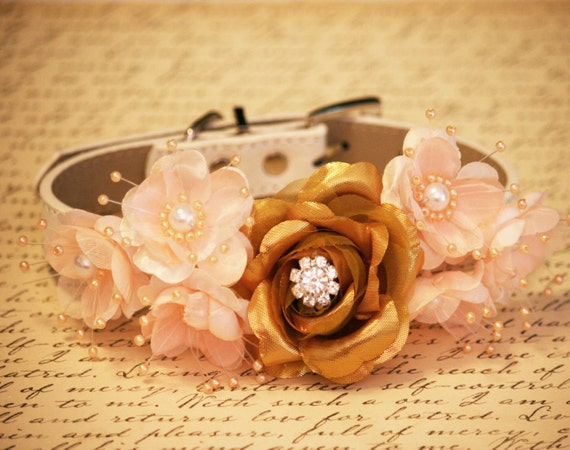 Gold Peaches Floral Dog Collars Pet Wedding Accessories Gold