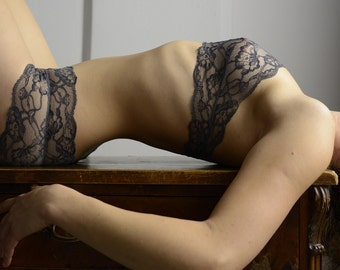 Lingerie Set - Woman in Grey // Undies  in soft French Lace handmade of Fransik in black grey red