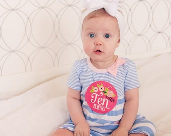 Monthly Baby Bodysuit Stickers, Baby Girl Monthly Stickers, Baby Month Stickers - Floral Hand Lettering - Months 1-12
