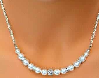Rhinestone and Pearl Swarovski Necklace, White Pearls, Silver Necklace, Bridal Wedding Necklace, Bridesmaids Necklace, Classic Jewelry,HELEN
