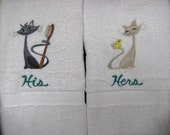 """Embroidered """"His & Hers Fancy Felines"""" Towel Set"""
