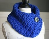 ULTRAMARINE BLUE Cowl Scarf with black button, crocheted