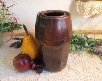 Antique Peoria Pottery Wax Seal Canning Fruit Jar Crock  B482