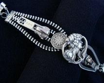 Silver Steampunk Maiden Button Zipper Cuff Bracelet - Steampunk Jewelry - Zipper Jewelry
