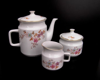 Vintage tea set Soviet teapot Sugar jar Creamer Floral porcelain tea set Floral coffee set Szechoslovakia Vintage tea coffee set